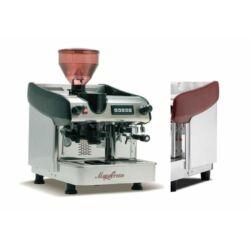 Expobar Megacrem egykaros kávéfőző számlálós darálóval, piros színbenl (spanyol kávégép)